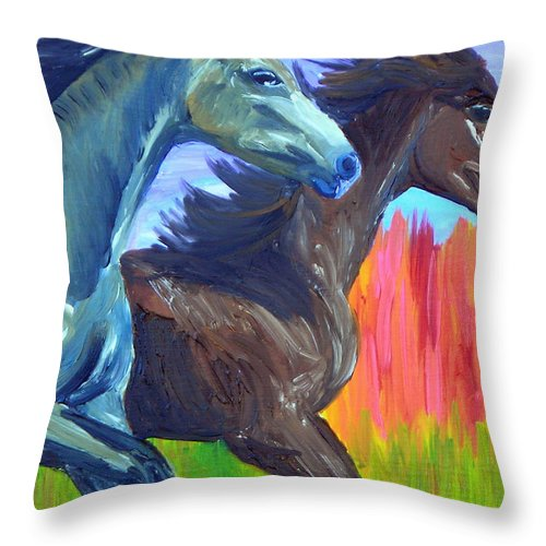 Horses Throw Pillow featuring the painting Free Spirits by Michael Lee