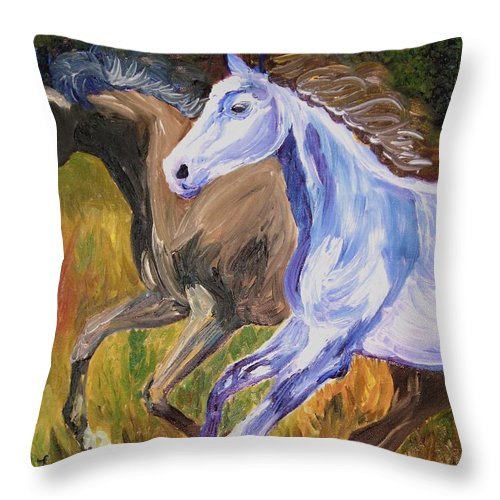 Horses Throw Pillow featuring the painting Free To Run by Michael Lee