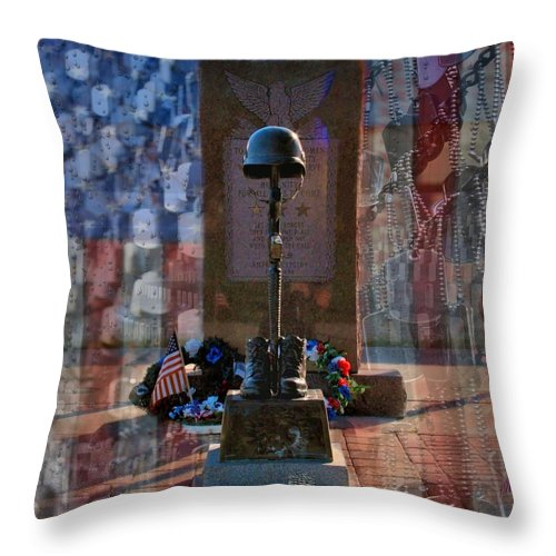 Dog Tag Throw Pillow featuring the digital art Freedom Ain't Free by DJ Florek