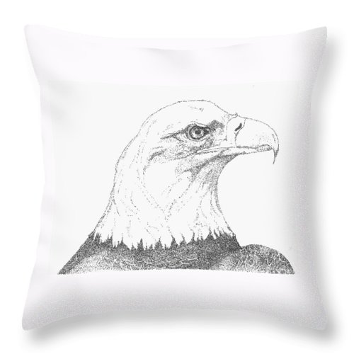 Eagle Throw Pillow featuring the drawing Freedom by Debra Sandstrom