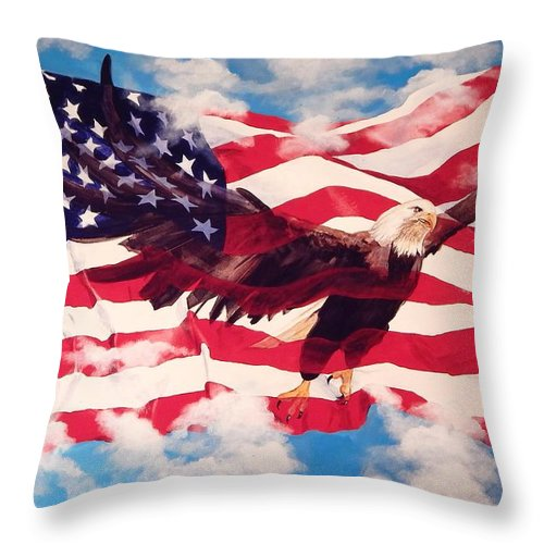 Patriotic Throw Pillow featuring the painting Freedom Eagle by Michael Hagel