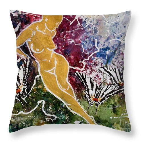 Nude Throw Pillow featuring the painting Freedom by Elisabeta Hermann