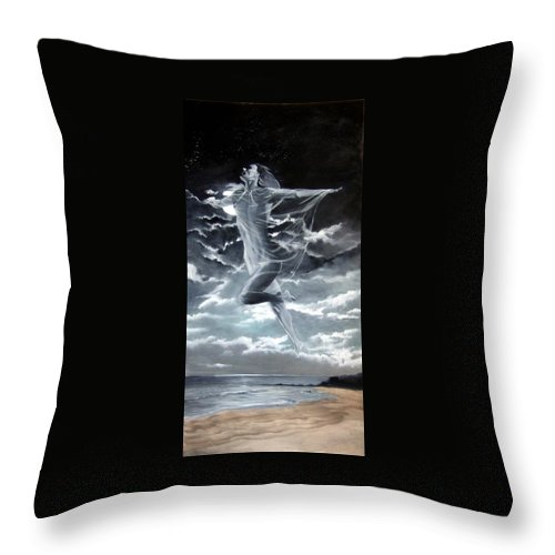 Moon Throw Pillow featuring the painting Freedom by Jane Simpson