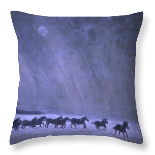 Horse Throw Pillow featuring the painting Freedom by Jarmo Korhonen aka Jarko