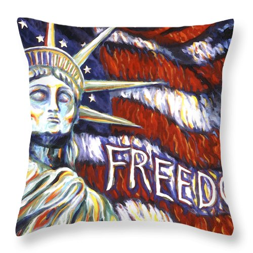 Statue Of Liberty Throw Pillow featuring the painting Freedom by Linda Mears