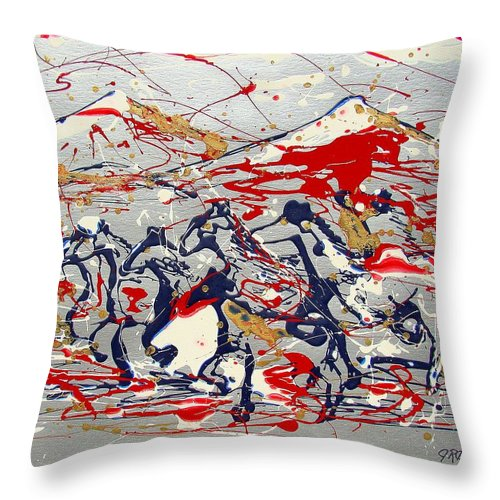 Freedom On The Open Range Throw Pillow featuring the painting Freedom On The Open Range by J R Seymour