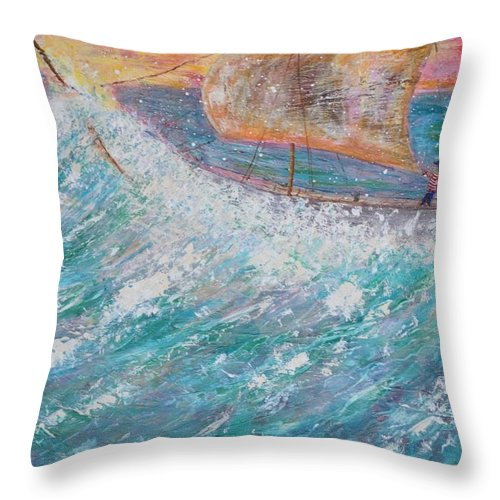 Seascape Throw Pillow featuring the painting Freedom by Richard Benson