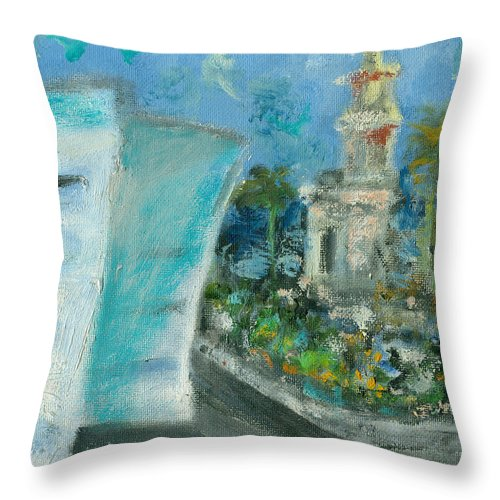 Miami Throw Pillow featuring the painting Freedom Tower And Aaa by Jorge Delara