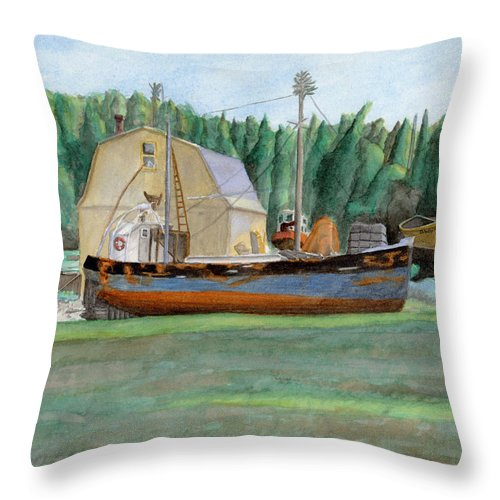 Fishing Boat Throw Pillow featuring the painting Freeport Fishing Boat by Dominic White