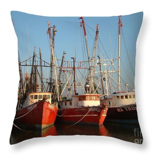 Boats Throw Pillow featuring the photograph Freeport Shrimper Fleet by Mark Grayden