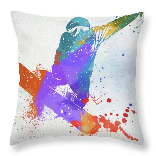 Freestyle Snowboard Throw Pillow featuring the painting Freestyle Snowboarder by Dan Sproul