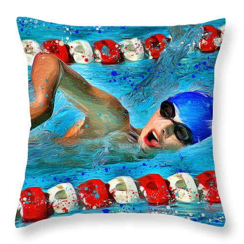 Swimmer Throw Pillow featuring the digital art Freestyle by Stephen Younts