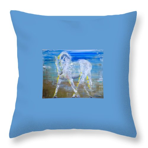 Dressage Throw Pillow featuring the painting Half Pass By The Lake by Suzy Berry