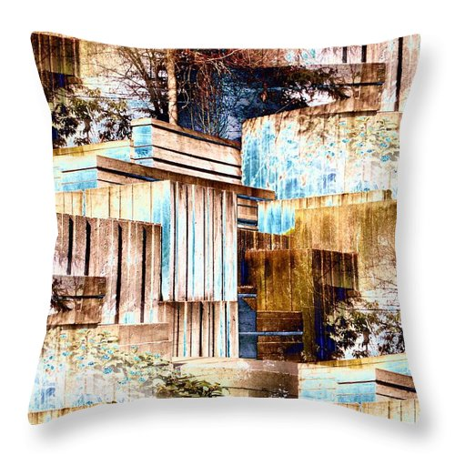 Seattle Throw Pillow featuring the digital art Freeway Park by Tim Allen