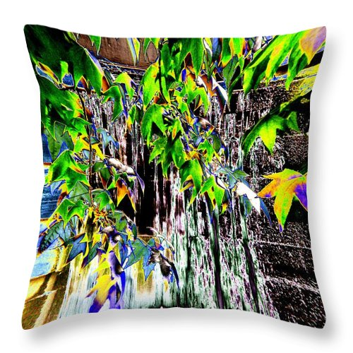 Seattle Throw Pillow featuring the photograph Freeway Park Waterfall 3 by Tim Allen