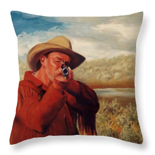 Cowboy Throw Pillow featuring the painting Freeze  Rifleman With Muzzle Loader Western Painting by Kim Corpany