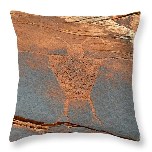 Petroglyph Throw Pillow featuring the photograph Fremont Man by David Lee Thompson