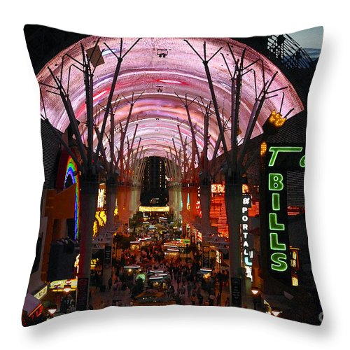 Fremont Street Throw Pillow featuring the photograph Fremont Street by David Lee Thompson