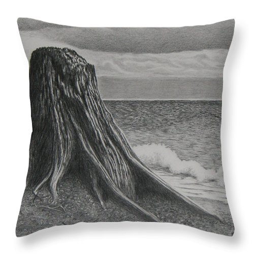 Pencil Throw Pillow featuring the drawing French Beach by Lorraine G Collins