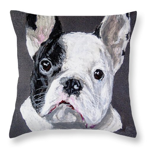 French Bulldog Dog Throw Pillow featuring the painting French Bulldog Close Up by Ben Soedjono