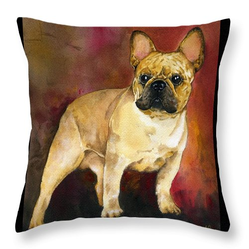 French Bulldog Throw Pillow featuring the painting French Bulldog by Kathleen Sepulveda