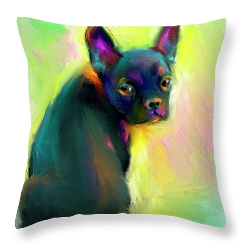 French Bulldog Painting Throw Pillow featuring the painting French Bulldog Painting 4 by Svetlana Novikova