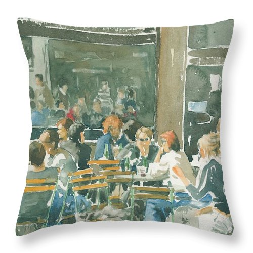 Watercolour Throw Pillow featuring the painting French Cafe Scene by Ian Osborne