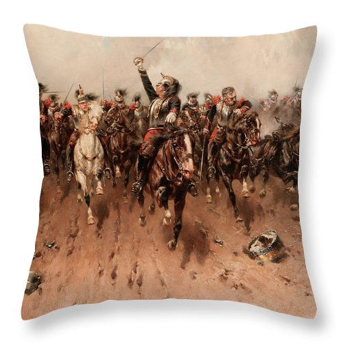 French Cavalry Charging Throw Pillow featuring the painting French Cavalry Charging by Hermanus Willem Koekkoek