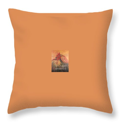 Rooster Throw Pillow featuring the painting French Country Rooster by Nadine Rippelmeyer