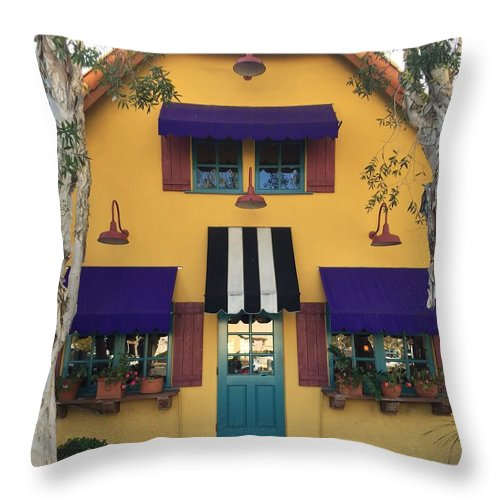 Mustard Yellow Blk/white Purple Trees Aquq Awning Planter Boxes Throw Pillow featuring the photograph French Delectables by Peggy Stokes