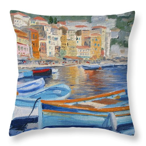 Seascape Throw Pillow featuring the painting French Harbor by Jay Johnson
