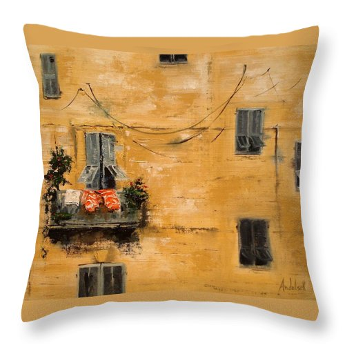 French Throw Pillow featuring the painting French Laundry by Barbara Andolsek