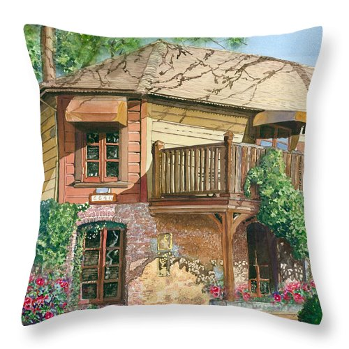 Cityscape Throw Pillow featuring the painting French Laundry Restaurant by Gail Chandler