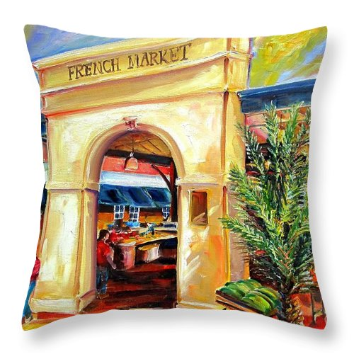 New Orleans Throw Pillow featuring the painting French Market Sunshine by Diane Millsap