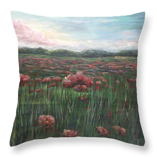 France Throw Pillow featuring the painting French Poppies by Nadine Rippelmeyer