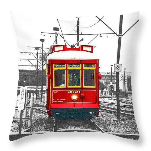 Travelpixpro New Orleans Throw Pillow featuring the photograph French Quarter French Market Cable Car New Orleans Color Splash Black And White With Film Grain by Shawn O'Brien