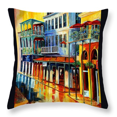 New Orleans Paintins Throw Pillow featuring the painting French Quarter Sunrise by Diane Millsap