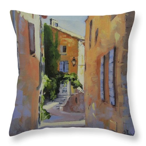 Hill Town Throw Pillow featuring the painting French Street by Chris Hobel