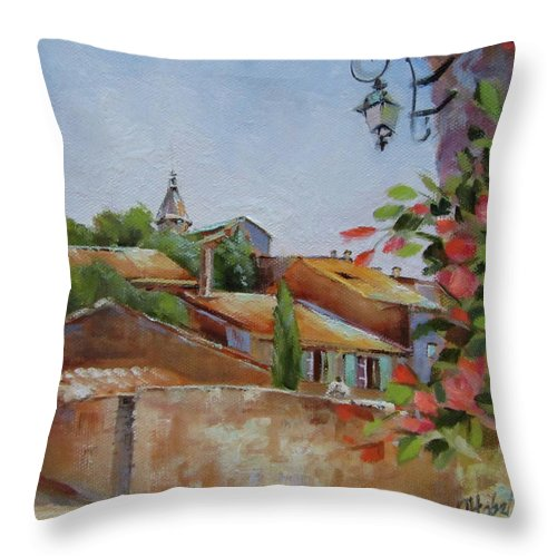 French Village Throw Pillow featuring the painting French Village by Chris Hobel