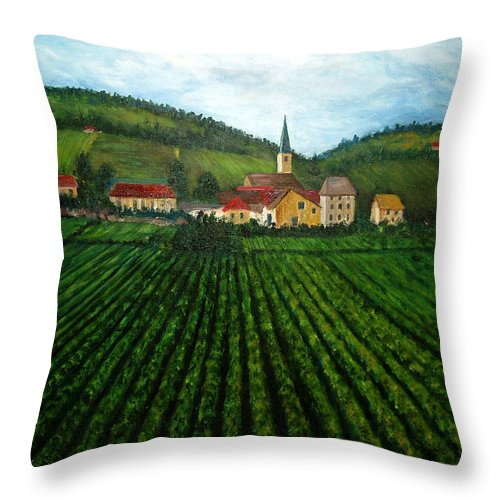 Acrylic Throw Pillow featuring the painting French Village In The Vineyards by Nancy Mueller