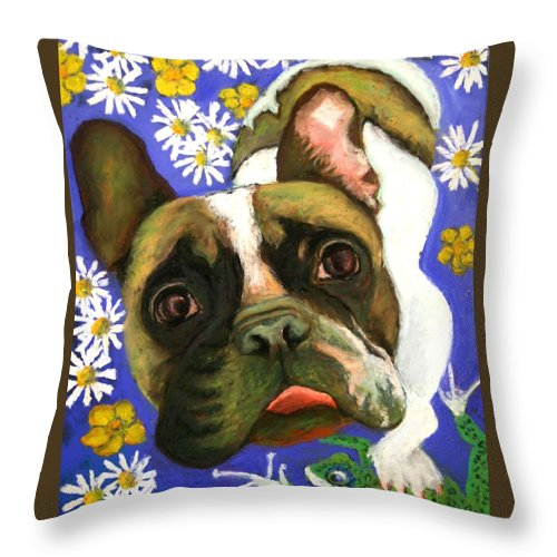 Pet Portrait Throw Pillow featuring the painting Frenchie Plays With Frogs by Minaz Jantz
