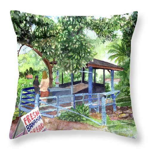 Kahakaloa Throw Pillow featuring the painting Fresh Banana Bread by Eric Samuelson