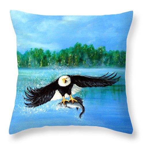 Landscape Throw Pillow featuring the painting Fresh Catch by Leonardo Ruggieri