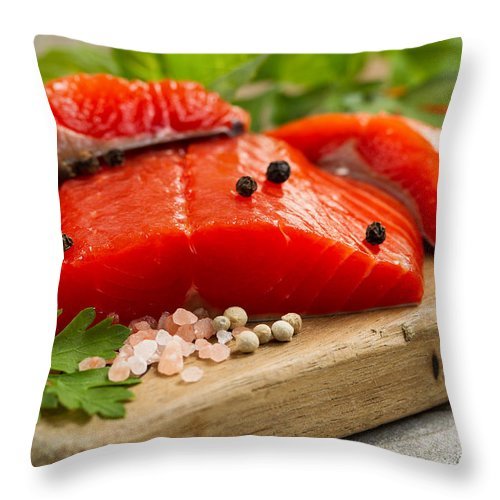 Salmon Throw Pillow featuring the photograph Fresh Copper River Salmon Fillets On Rustic Wooden Server With S by Thomas Baker