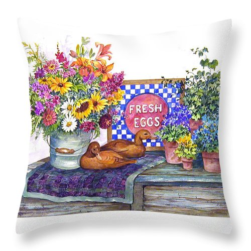 Watercolor;ducks;decoys;floral;mixed Bouquet;potted Plants;checkerboard;quilt; Throw Pillow featuring the painting Fresh Eggs by Lois Mountz