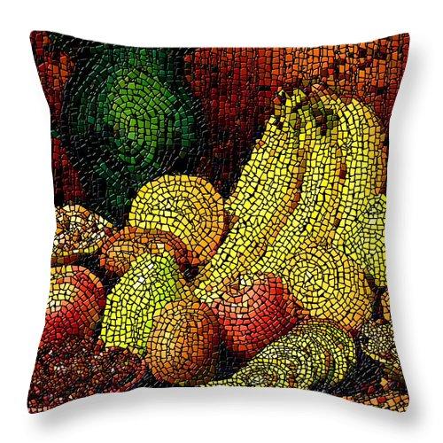 Fruit Throw Pillow featuring the digital art Fresh Fruit Tiled by Stephen Lucas