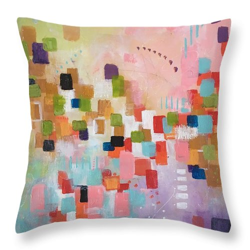Abstract Throw Pillow featuring the painting Fresh Morning by Suzzanna Frank