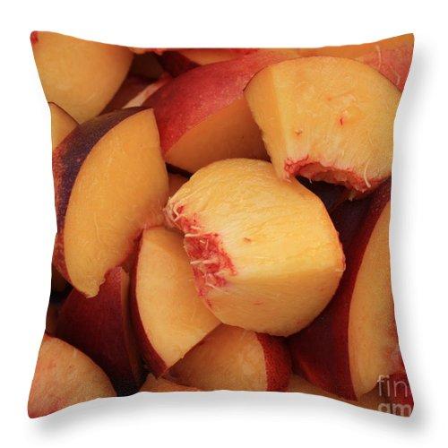 Peaches Throw Pillow featuring the photograph Fresh Peaches by Carol Groenen
