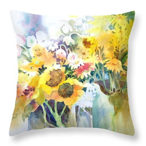 Contemporary;watercolor;sunflowers;daisies;floral; Throw Pillow featuring the painting Fresh-picked by Lois Mountz