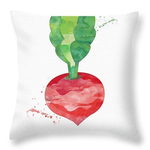Radish Throw Pillow featuring the painting Fresh Radish by Linda Woods